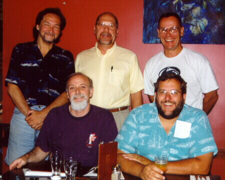 Here are the founding members of the New Jersey Association of Beerwriters (NJAB), clockwise from upper left: Gary Monterosso, Jim Carlucci, Kurt Epps, Lew Bryson, Mark Haynie.  Kevin Trayner has joined our group since then.